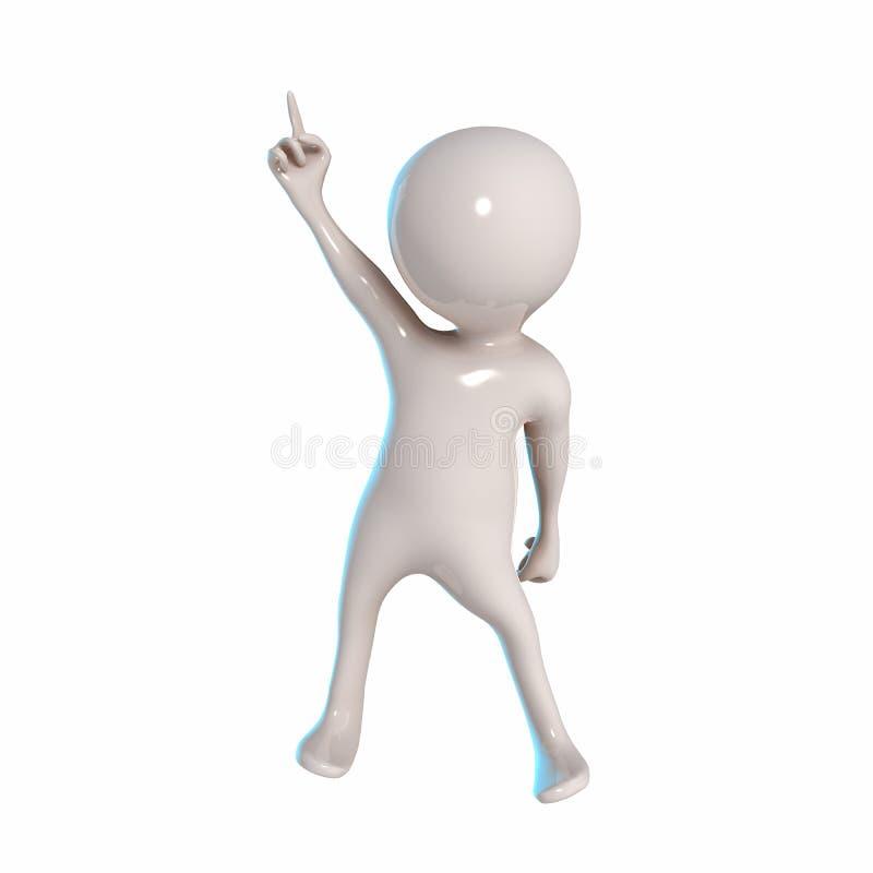 与手指姿势的3D Stickman 皇族释放例证