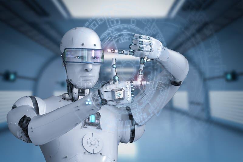 与手指的机器人措施 皇族释放例证