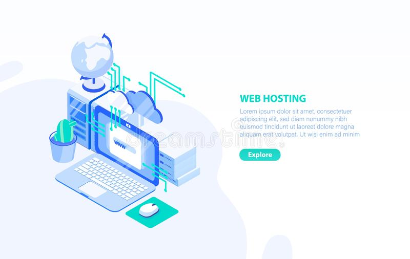 与手提电脑、服务器和地方的创造性的水平的横幅模板文本的 主持技术的网或互联网 库存例证