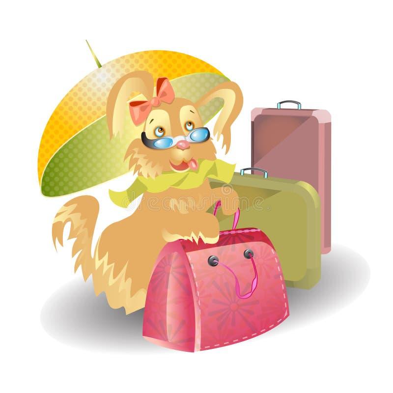 与手提箱动画片的狗旅行 库存例证