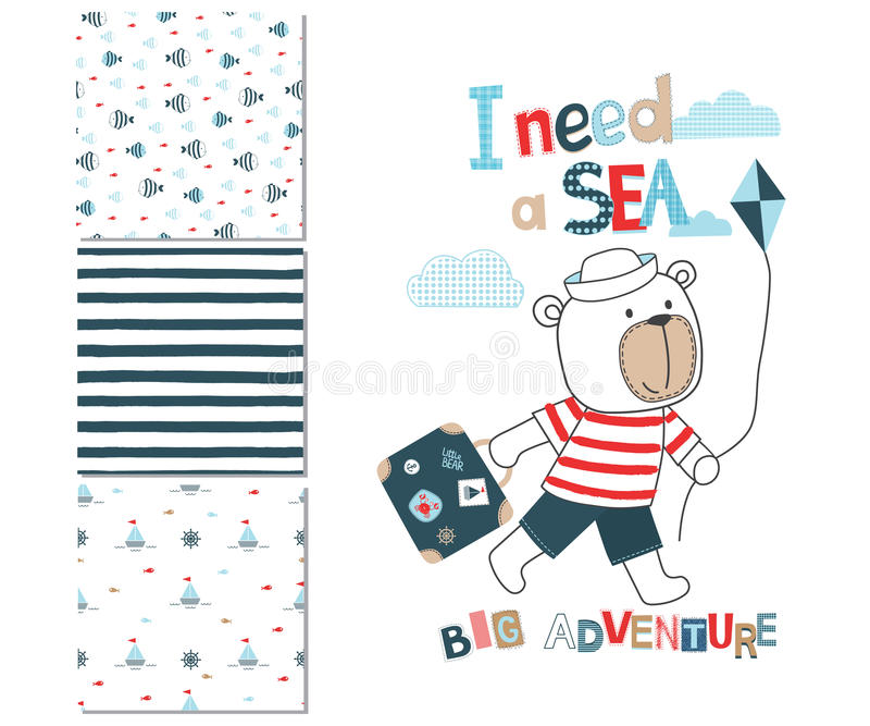 与手提箱和3个无缝的样式的逗人喜爱的小的熊 库存例证