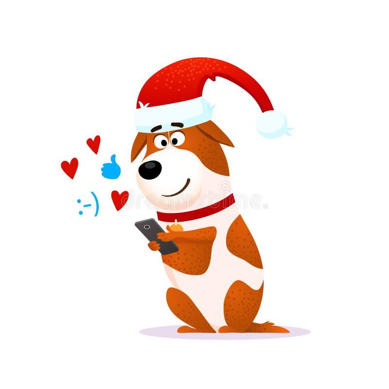 与手机的滑稽的动画片狗画象 向量例证
