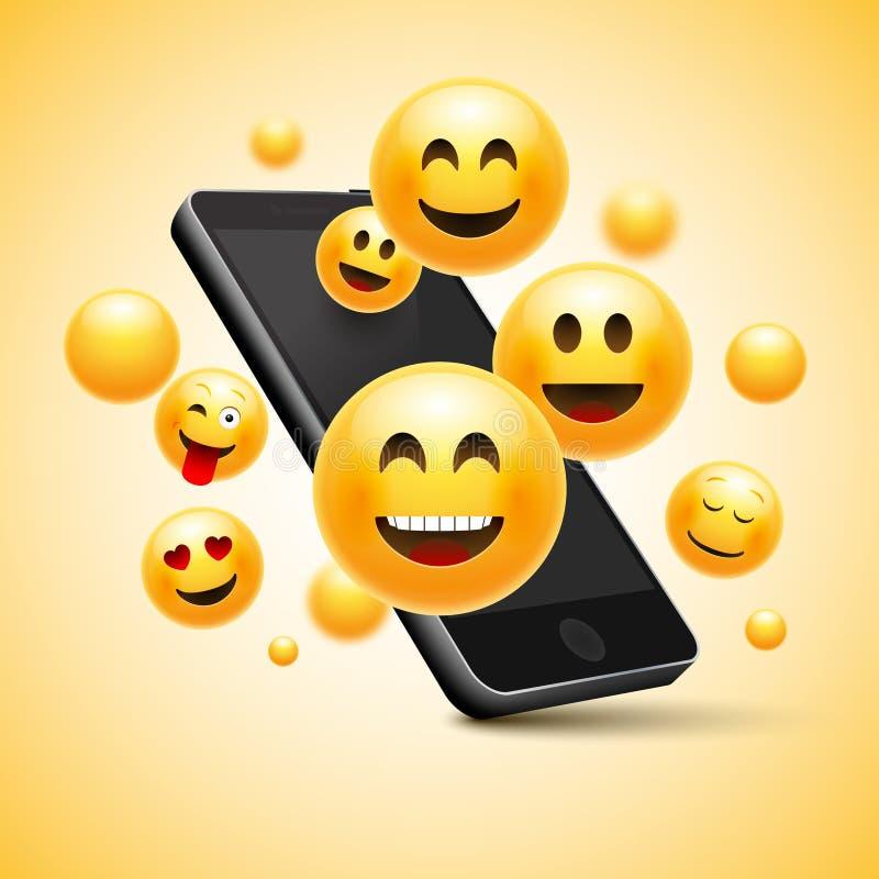 与手机的Emoji愉快的兴高采烈的设计 3d情感概念例证 向量例证