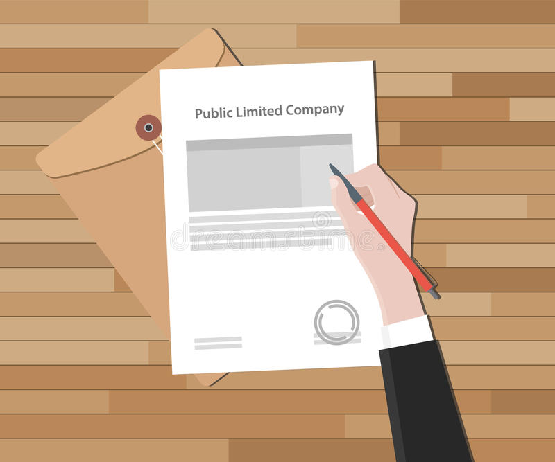 与手标志的有限公司一张法律纸邮票 库存例证