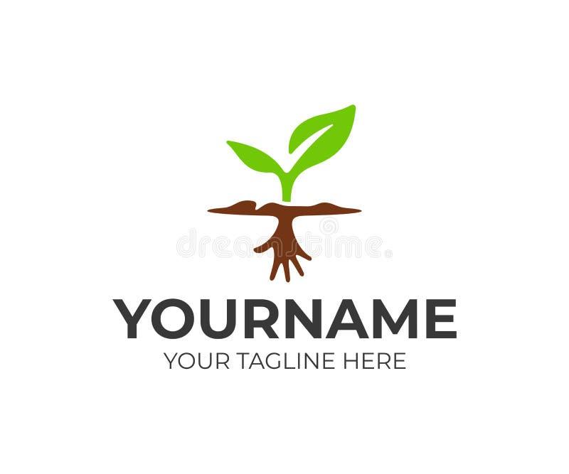 与手根商标设计的新芽 地面传染媒介设计的植物 库存例证