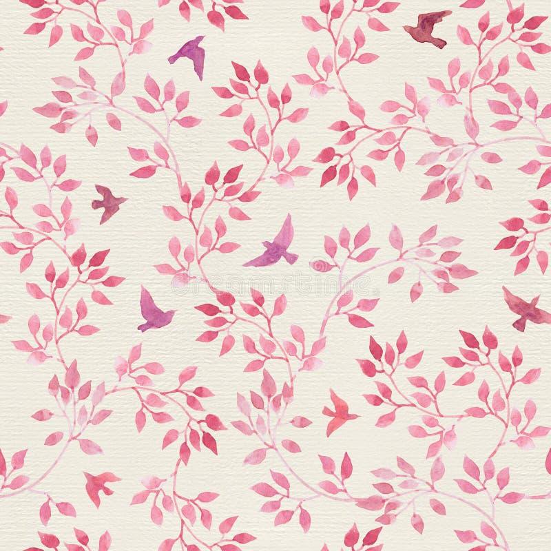 与手画桃红色叶子,鸟的无缝的葡萄酒样式 水彩娘儿们或女性设计 库存例证