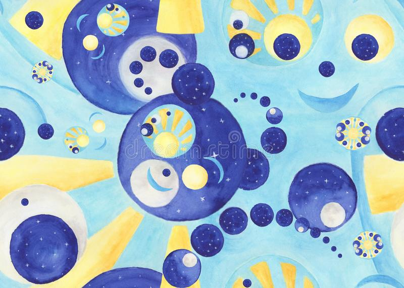 与手画水彩元素的嬉戏的抽象无缝的样式 库存例证