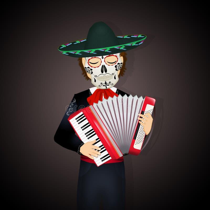 与手风琴和死的面具的墨西哥流浪乐队 向量例证