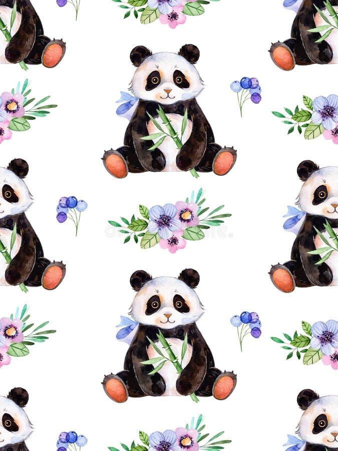 与手画水彩元素、多彩多姿的三角和逗人喜爱的熊猫的无缝的纹理 皇族释放例证