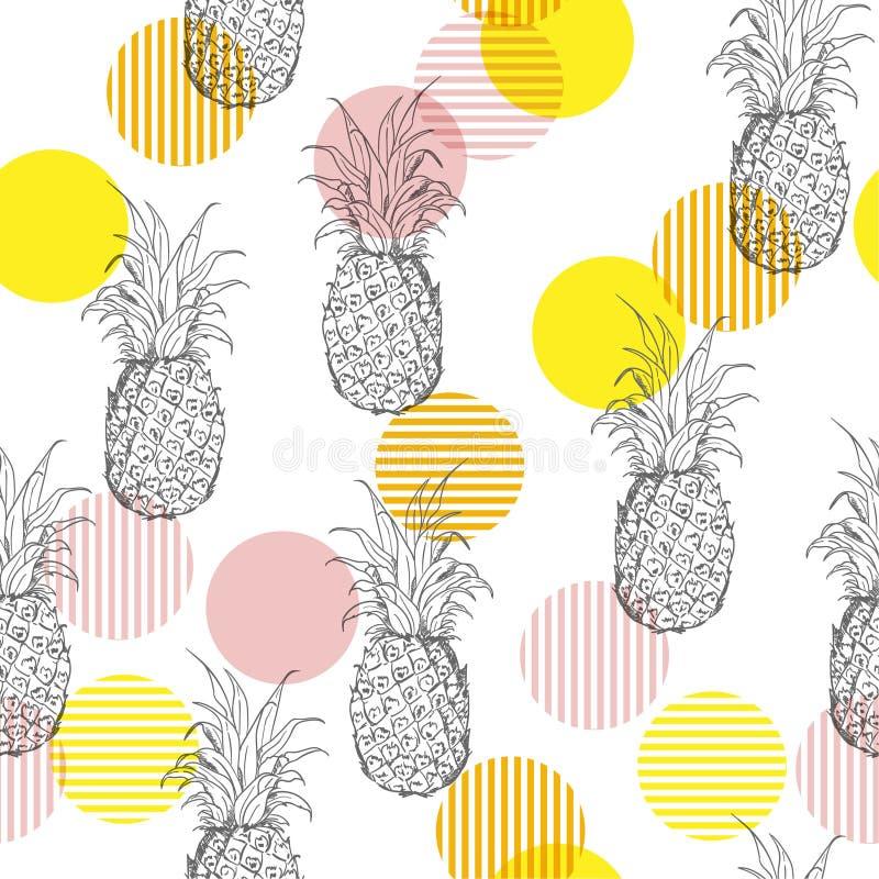 与手drawi的夏天新鲜的概述菠萝无缝的样式 库存例证