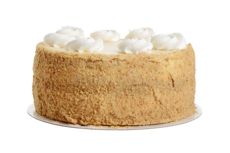 与打好的奶油的被隔绝的曲奇饼碎屑蛋糕 免版税库存照片