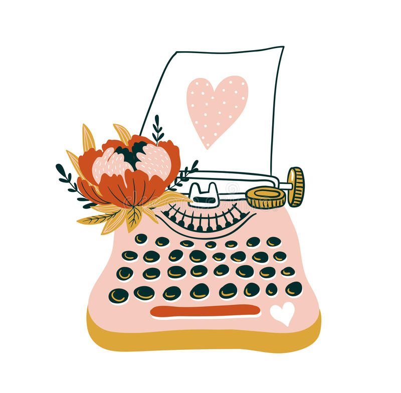 与打字机和心脏的手拉的传染媒介卡片 斯堪的纳维亚样式例证,爱设计为华伦泰` s天 皇族释放例证
