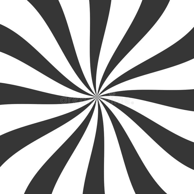 与打旋的黑Lollypop糖果背景,转动,旋转的条纹 向量 库存例证