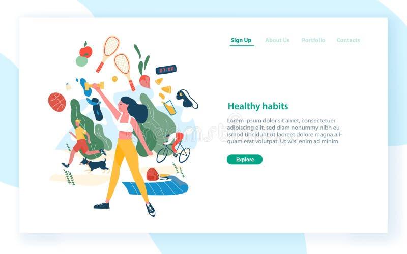 与执行体育活动和卫生食品的人的登陆的页模板 健康习性,活跃生活方式 向量例证