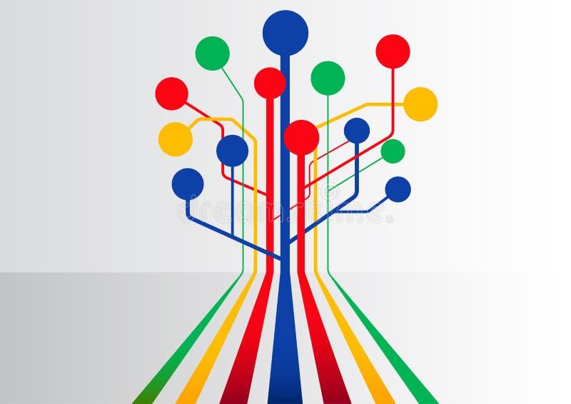 与扩充的多条线路的五颜六色的抽象企业背景形成树结构 库存例证