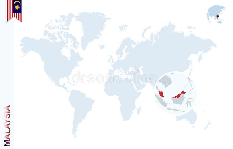 与扩大化的蓝色世界地图在马来西亚 皇族释放例证