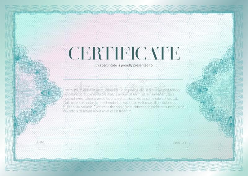 与扭索状装饰和水印传染媒介模板设计的水平的证明 文凭设计毕业,奖,成功 向量例证