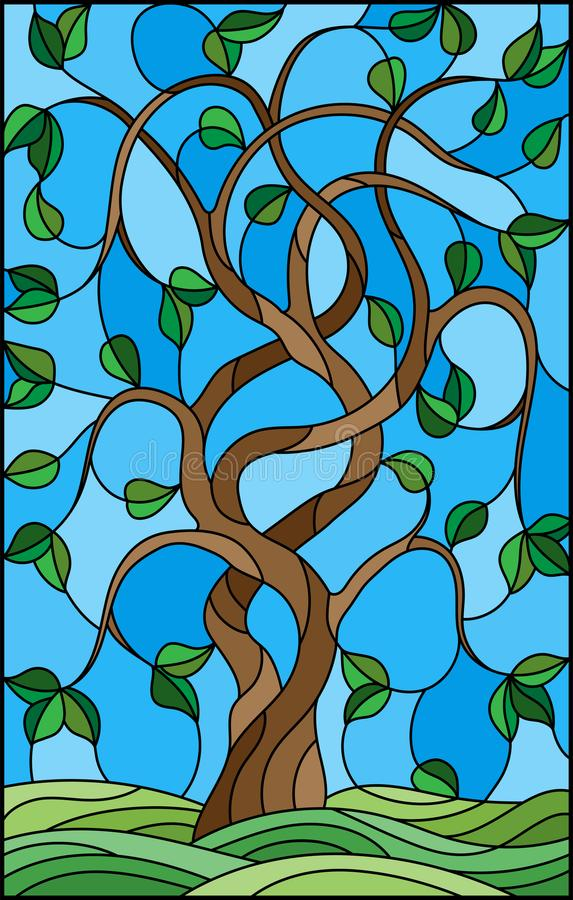与扭转的绿色树的彩色玻璃例证在天空背景 库存例证