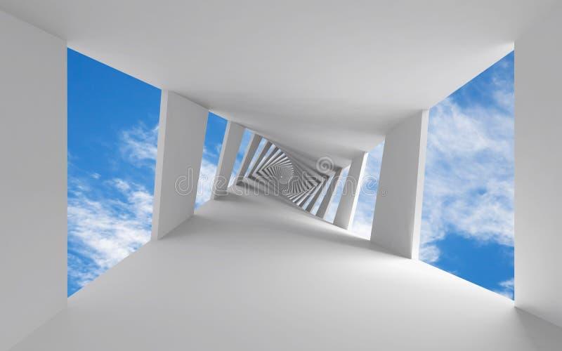 与扭转的走廊的抽象3d背景 库存例证
