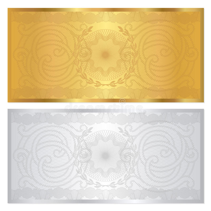 银/金证件模板。 扭索状装饰样式 向量例证