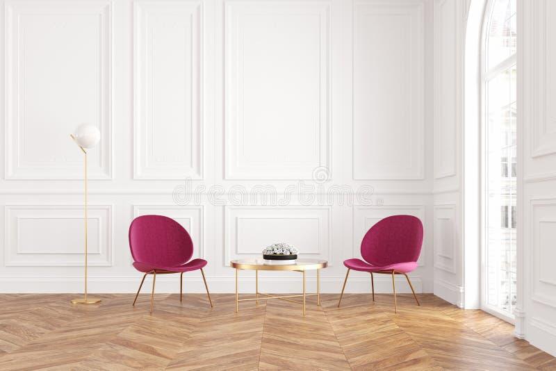 与扶手椅子、咖啡桌和落地灯的现代经典白色内部 向量例证