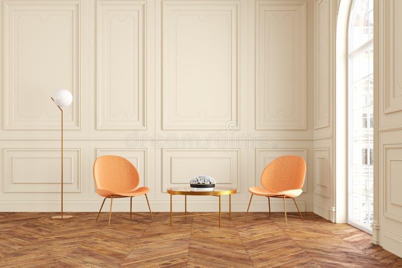 与扶手椅子、咖啡桌和落地灯的现代经典米黄内部 库存例证