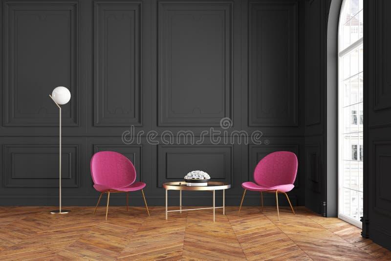 与扶手椅子、咖啡桌和落地灯的现代经典黑内部 向量例证