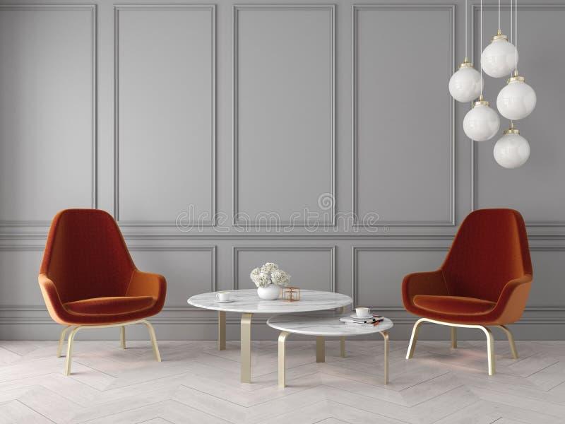与扶手椅子、灯、桌、墙板和木地板的现代经典内部 向量例证