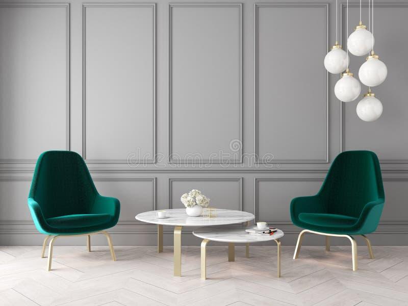与扶手椅子、灯、桌、墙板和木地板的现代经典内部 库存例证