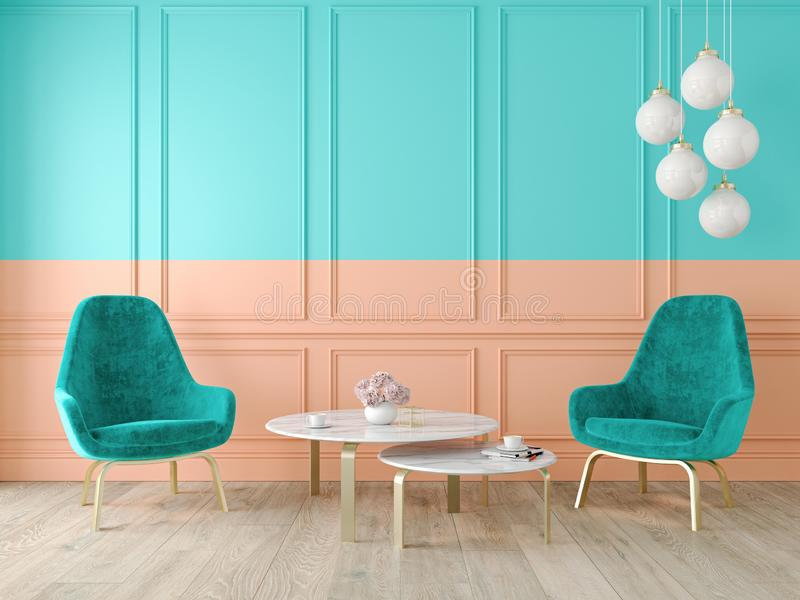 与扶手椅子、灯、桌、墙板和木地板的现代经典双重颜色内部 向量例证