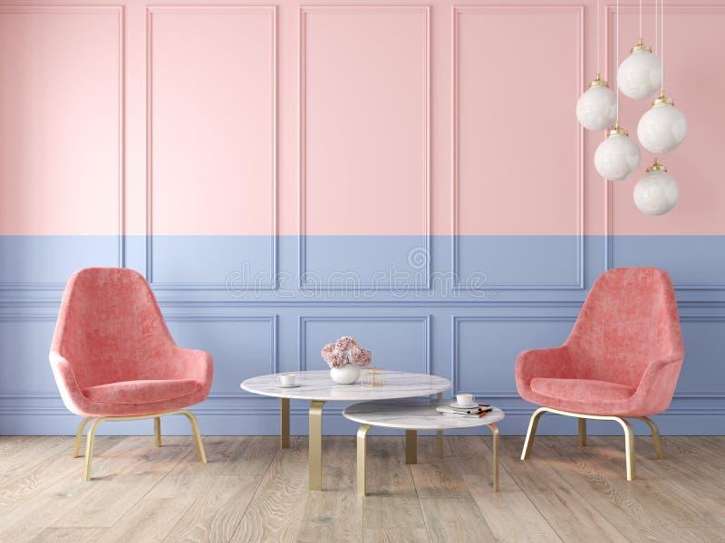 与扶手椅子、灯、桌、墙板和木地板的现代经典双重颜色内部 皇族释放例证