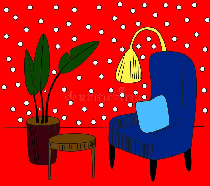 与扶手椅子、花在罐和灯的手拉的家庭内部剪影 o 皇族释放例证