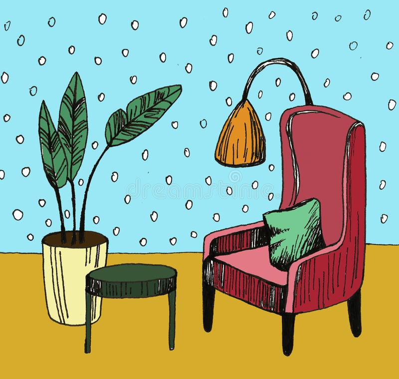 与扶手椅子、花在罐和灯的手拉的家庭内部剪影 o 免版税库存图片