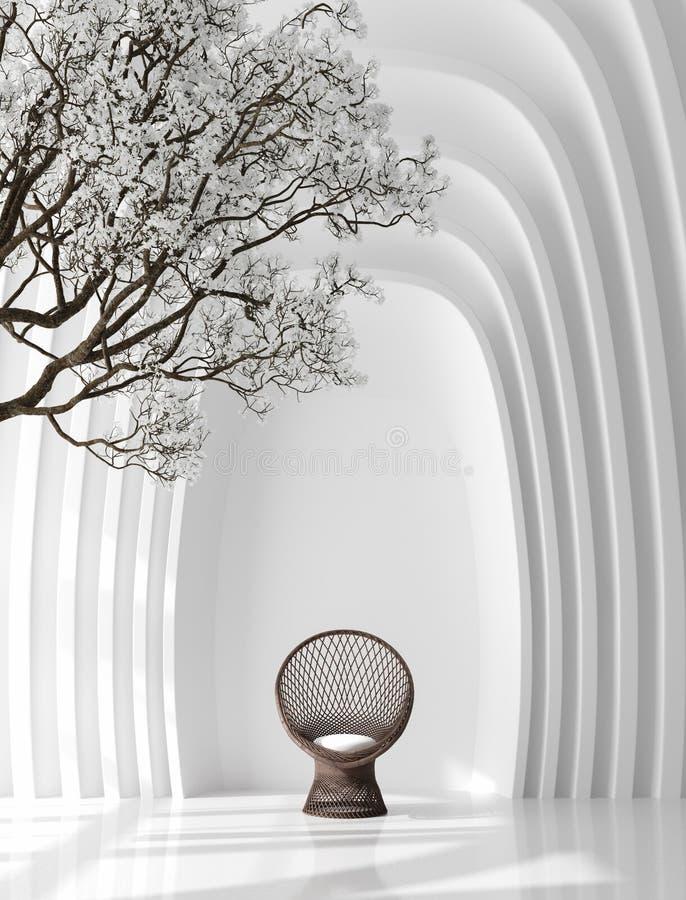 与扶手椅子和开花树的未来派内部背景 向量例证