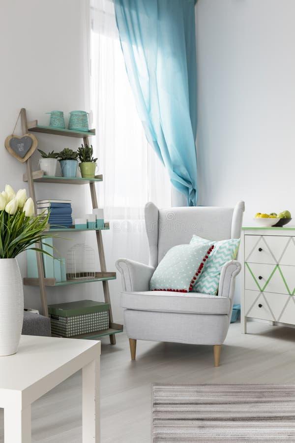 与扶手椅子和时髦的架子的舒适的客厅内部 图库摄影