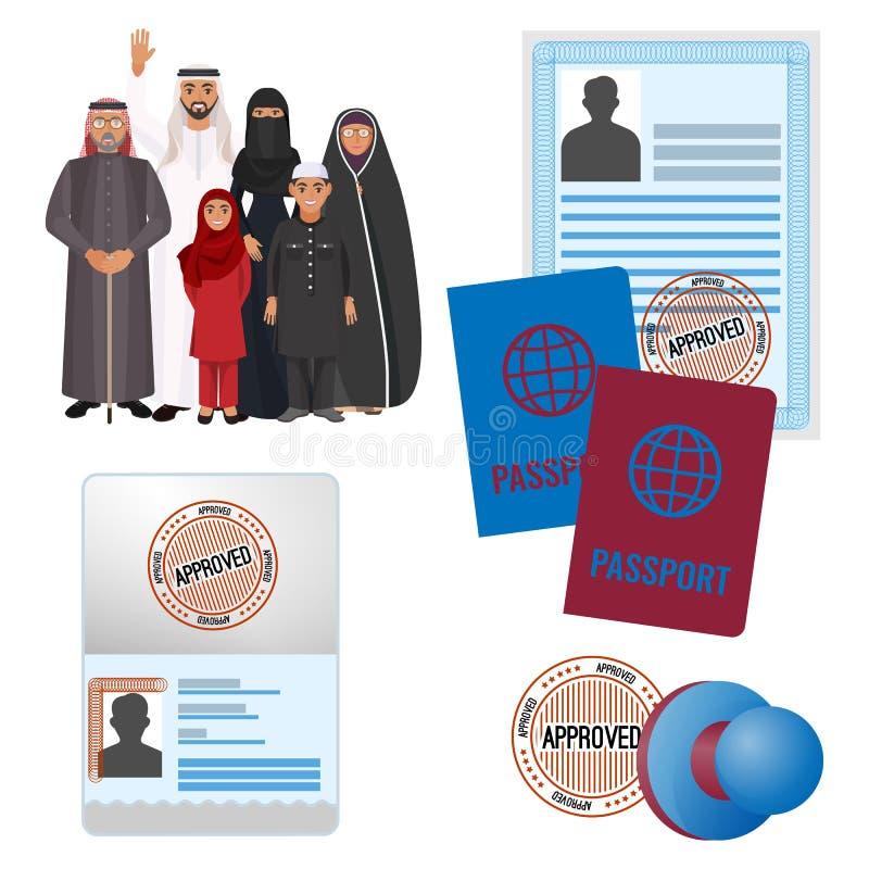 与批准的阿拉伯emigrats由邮票文件和护照 库存例证