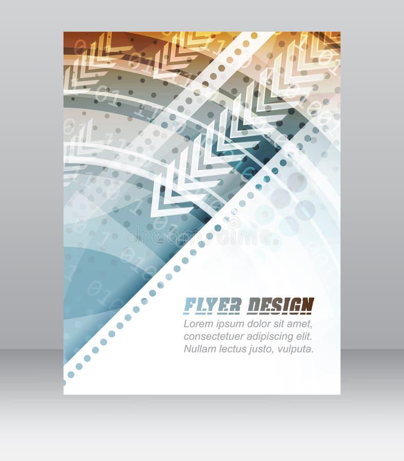 与技术样式、公司横幅或者盖子设计的抽象企业飞行物模板 库存例证