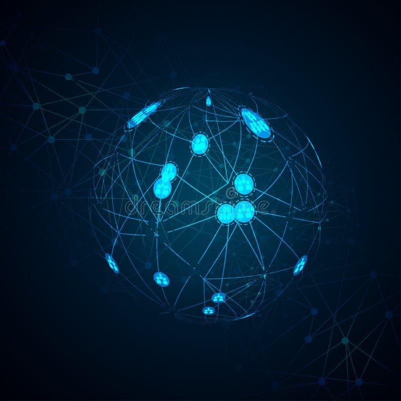与技术电路板纹理的抽象数字式背景 电子主板 通信和工程学概念 向量例证