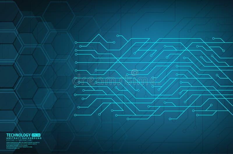 与技术电路板纹理的抽象数字式背景 皇族释放例证