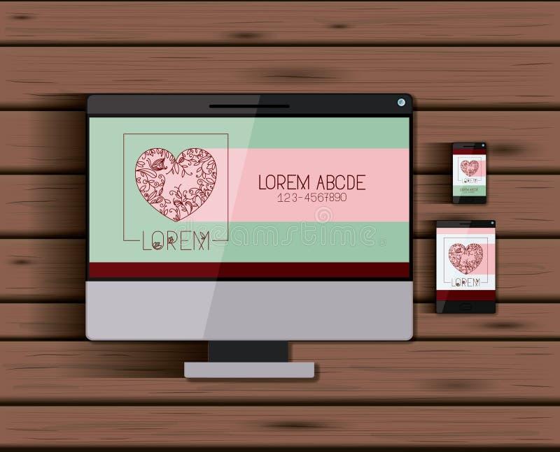 与技术设备心脏公司商标屏幕的固定式模板在木背景 皇族释放例证