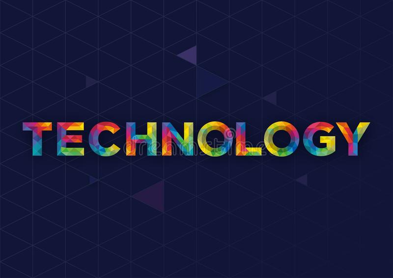 与技术词的现代几何传染媒介设计 免版税库存照片
