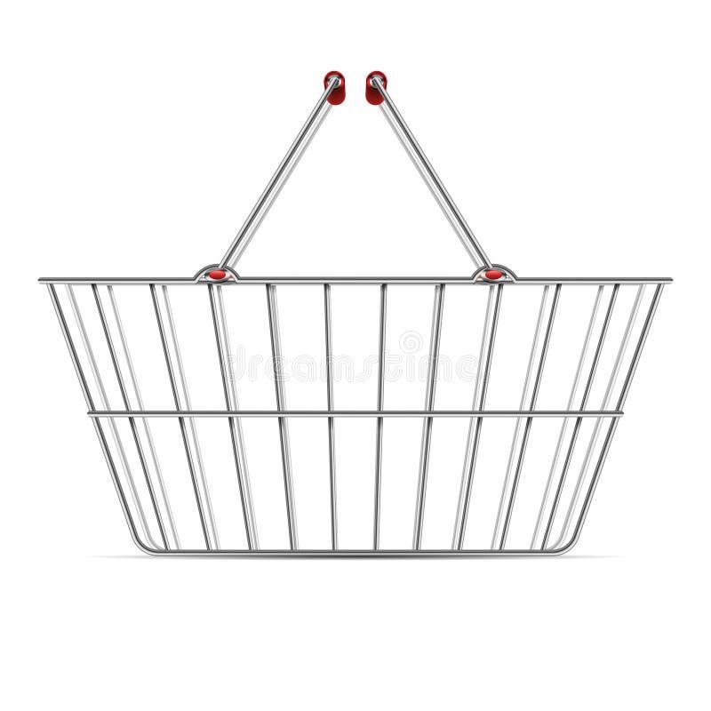 与把柄的现实空的超级市场购物金属篮子导航在白色背景隔绝的例证 皇族释放例证