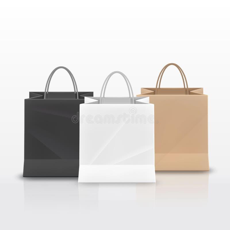 与把柄的现实纸购物袋在白色背景设置了被隔绝 也corel凹道例证向量 皇族释放例证