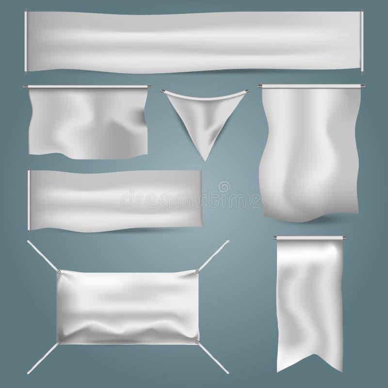 与折叠的传染媒介例证白色空白的纺织品广告横幅给的嘲笑做广告  库存例证
