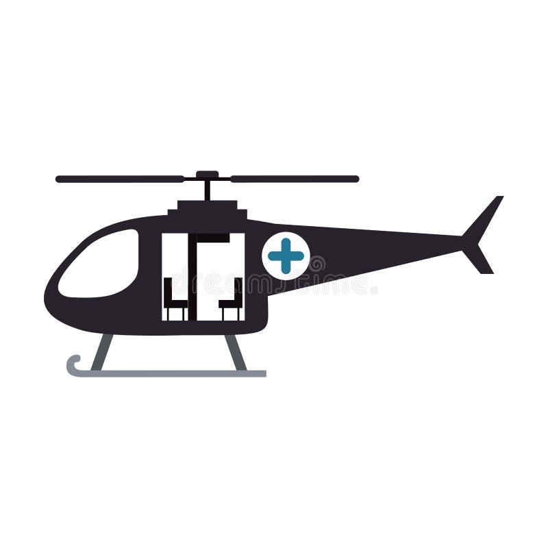 与抢救直升机的颜色剪影 库存例证