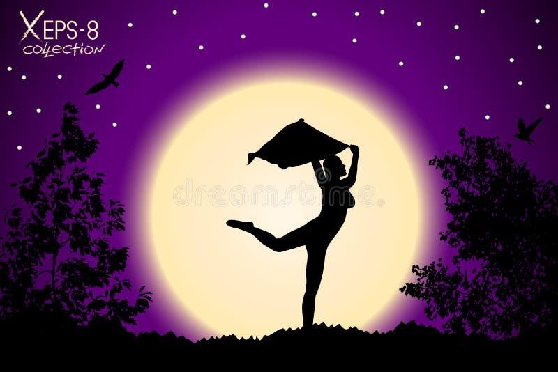 与披肩跳舞的女孩剪影在紫色日落背景  向量例证