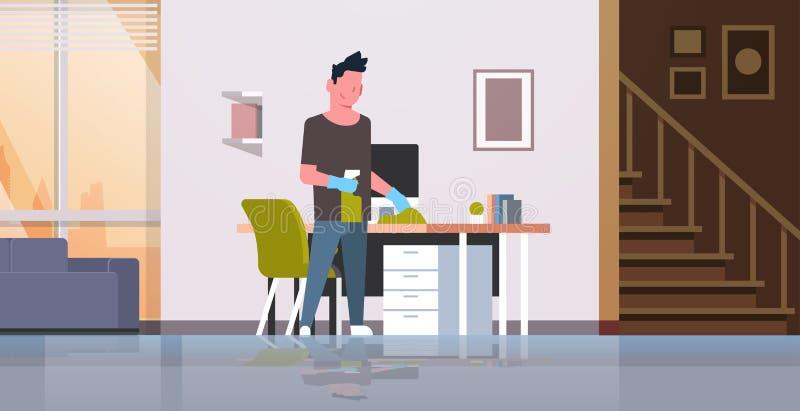 与抹工作场所书桌家事概念现代客厅内部男性的喷粉器人的人清洗的计算机桌 皇族释放例证