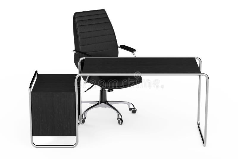 与抽屉和黑Le的大现代空的木办公室表 库存例证