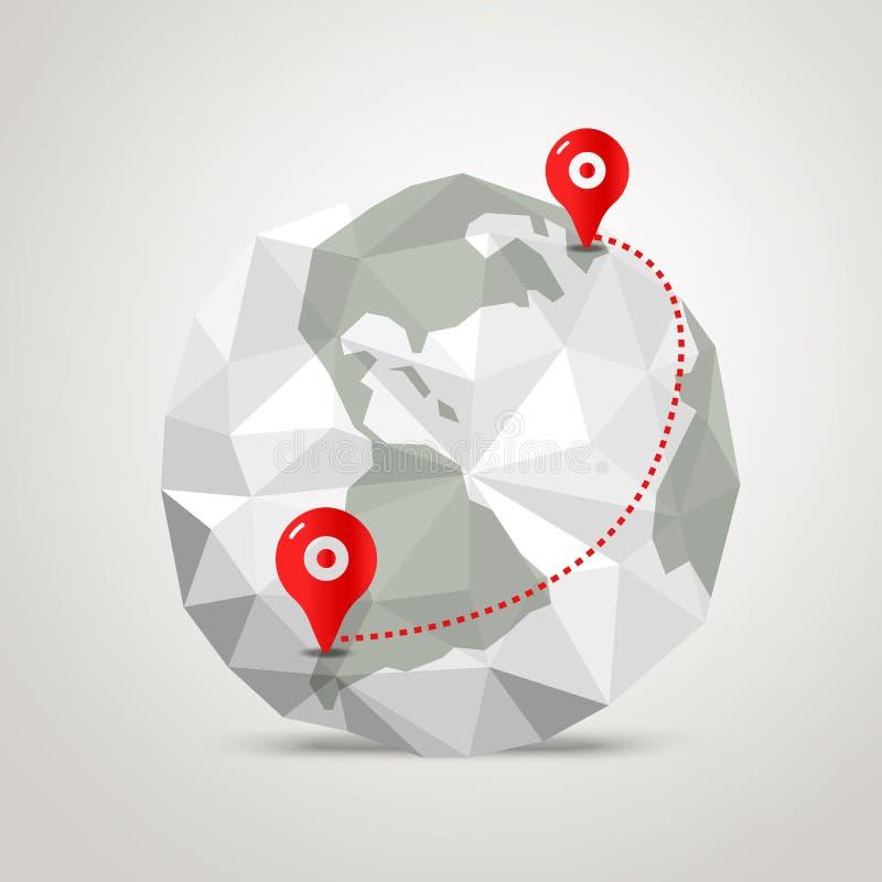 与抽象世界地图的地球 Infographic 库存例证