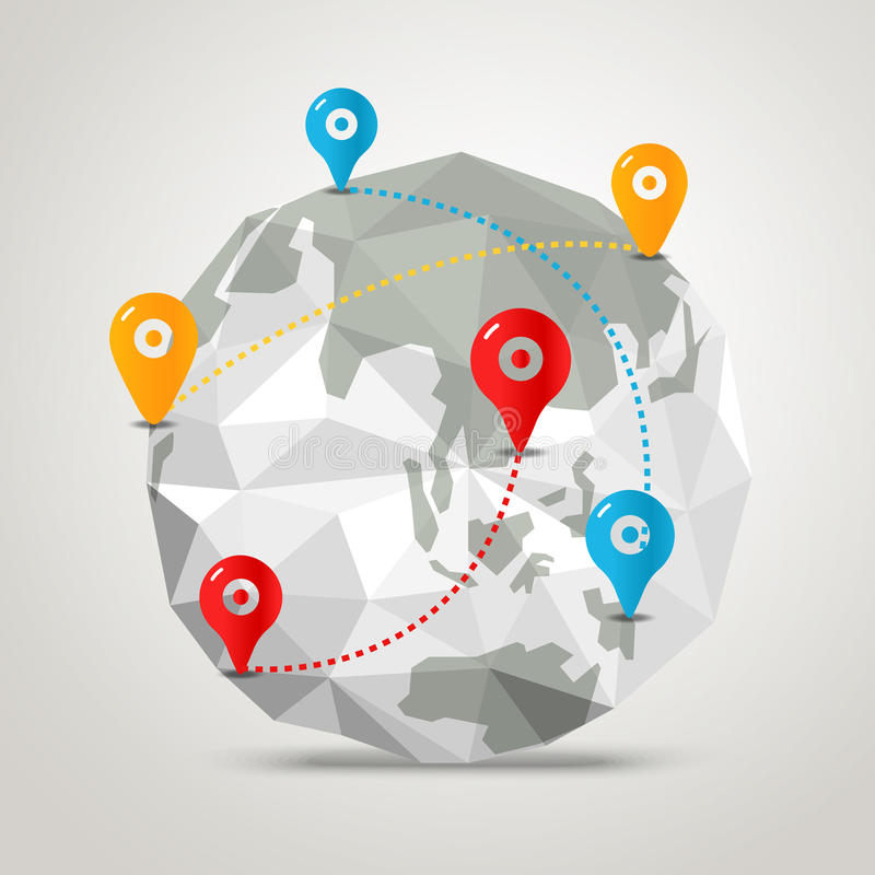 与抽象世界地图的地球 Infographic 皇族释放例证